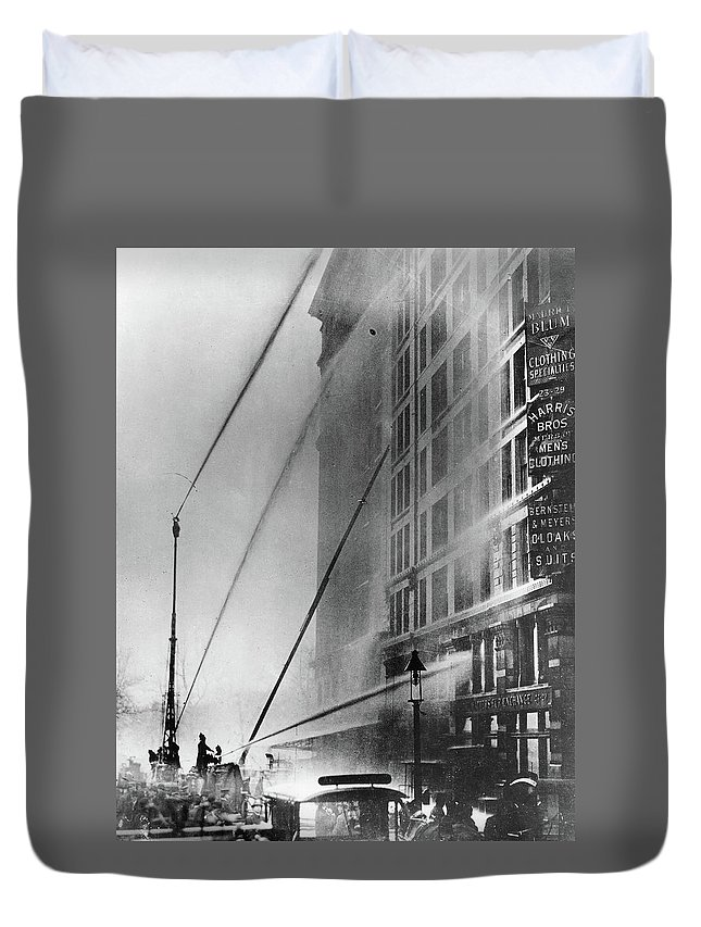 1911 Duvet Cover featuring the photograph Triangle Factory Fire by Granger