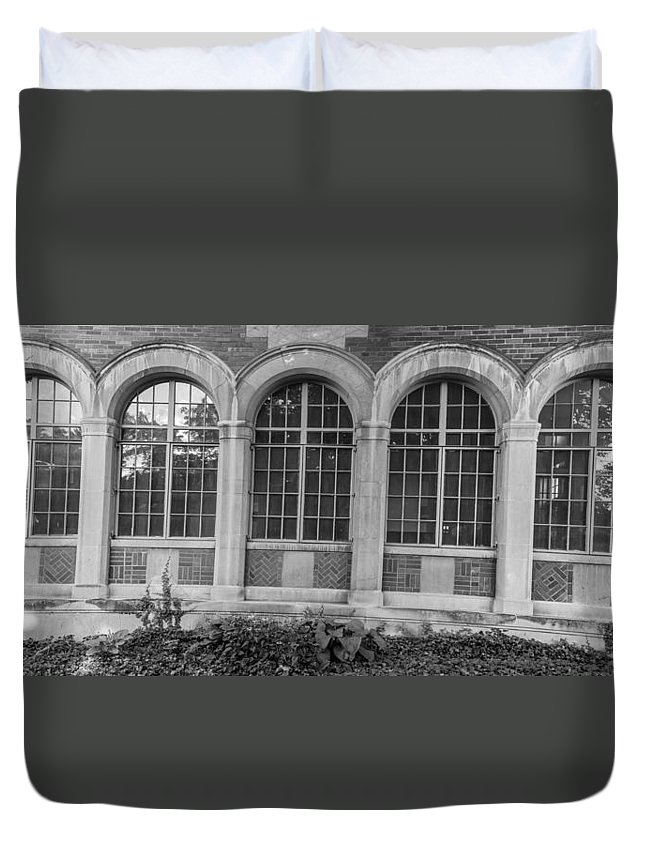Michigan State University Duvet Cover featuring the photograph 5 Windows by John McGraw
