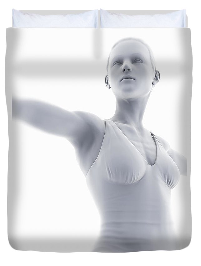 Flexible Duvet Cover featuring the photograph Yoga Warrior II Pose by Science Picture Co