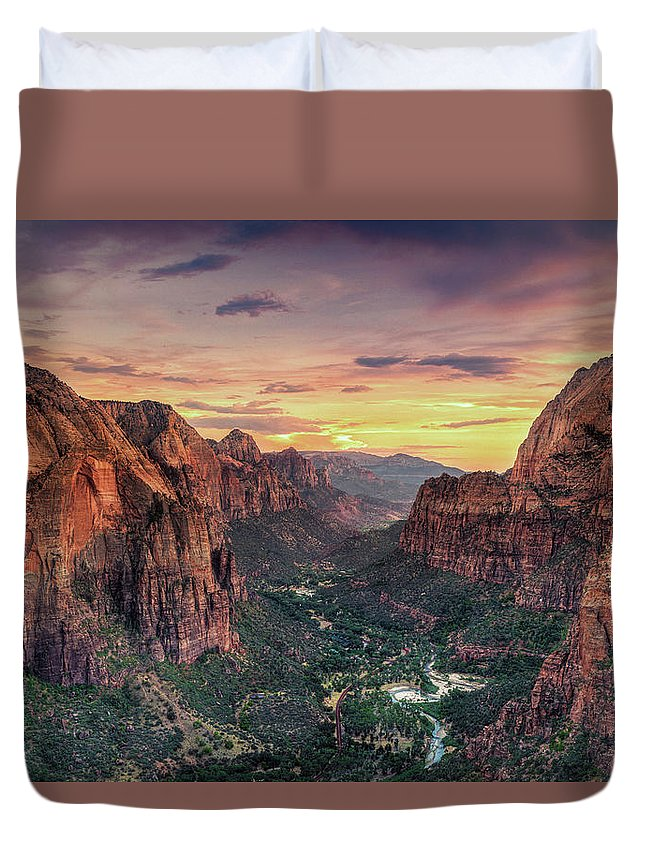 Scenics Duvet Cover featuring the photograph Zion Canyon National Park by Michele Falzone