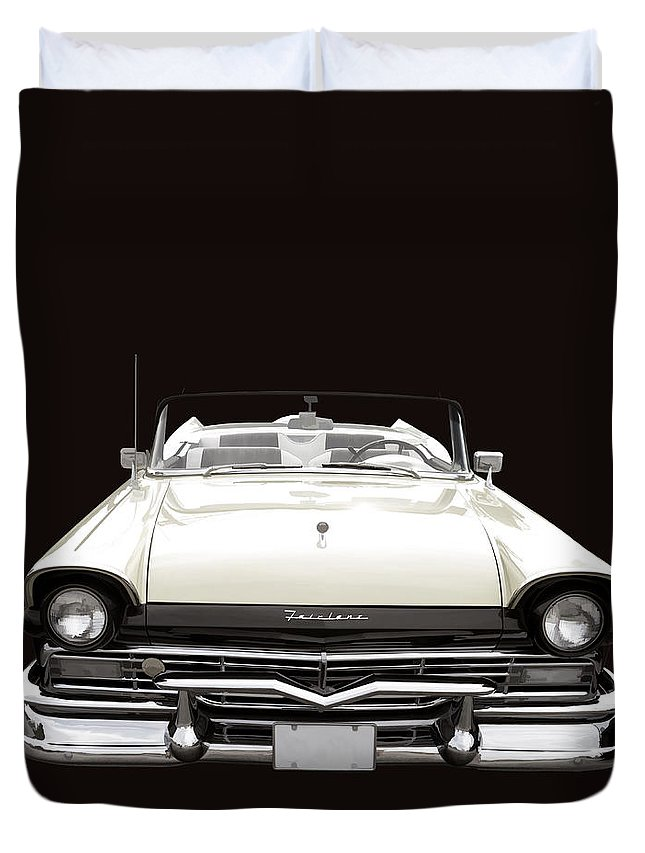 Ford Duvet Cover featuring the photograph 50s Ford Fairlane Convertible by Edward Fielding