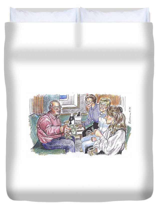 Family Duvet Cover featuring the drawing 50th Anniversary Cruise by Douglas Simonson