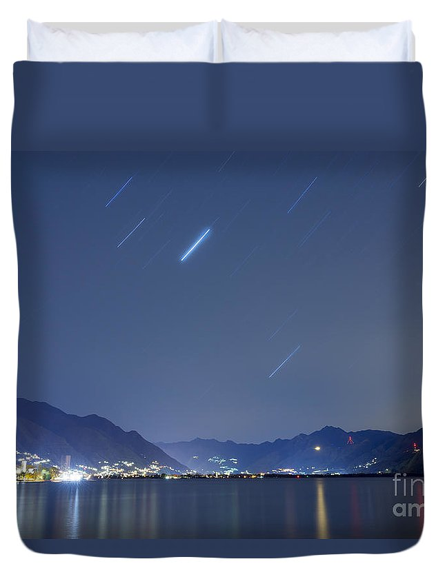 Lago Maggiore Duvet Cover featuring the photograph Alpine Lake by Mats Silvan
