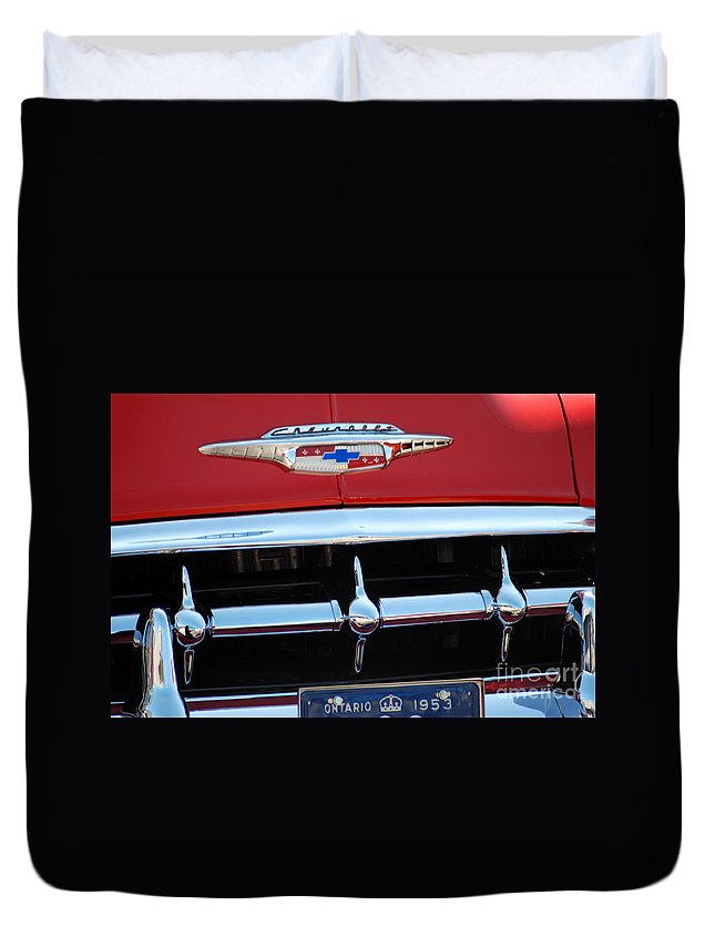 Chevrolet Duvet Cover featuring the photograph 53' Chey Grill by Optical Playground By MP Ray
