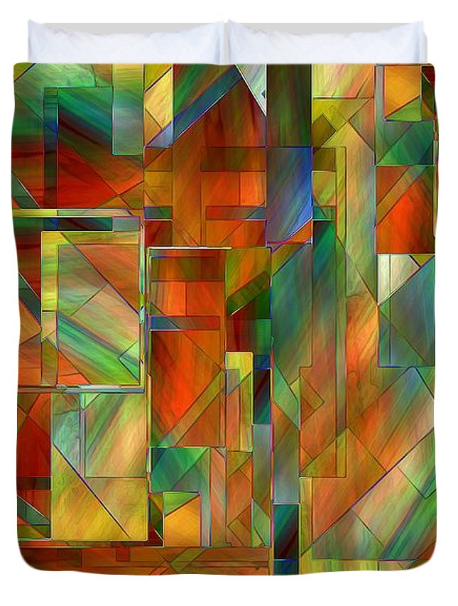Abstract Duvet Cover featuring the painting 53 Doors by RC DeWinter