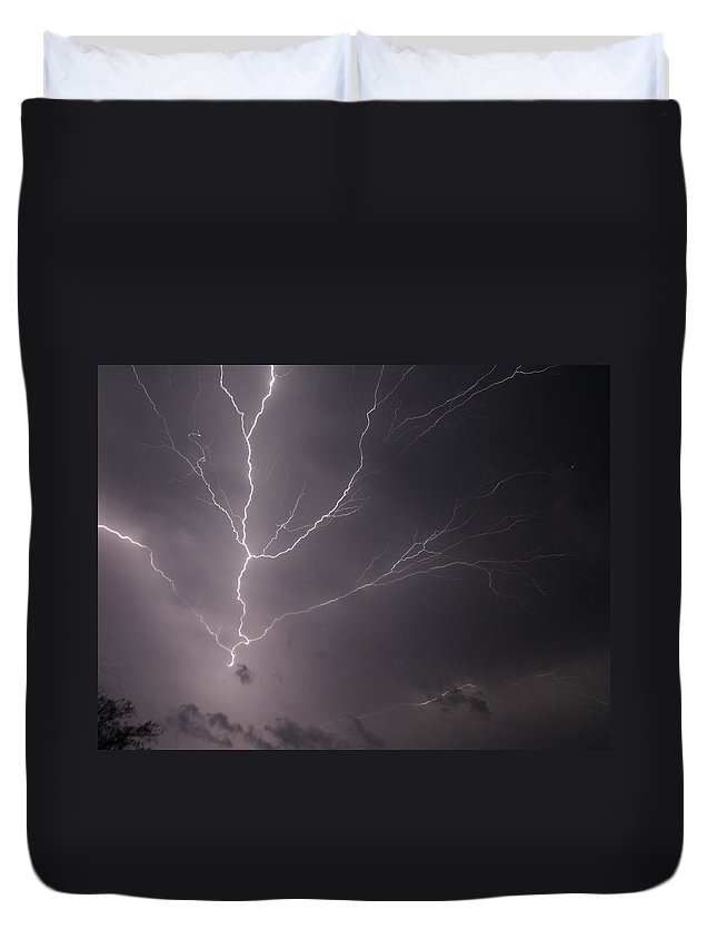 Lightning Duvet Cover featuring the photograph 5303 by Onyx Armstrong