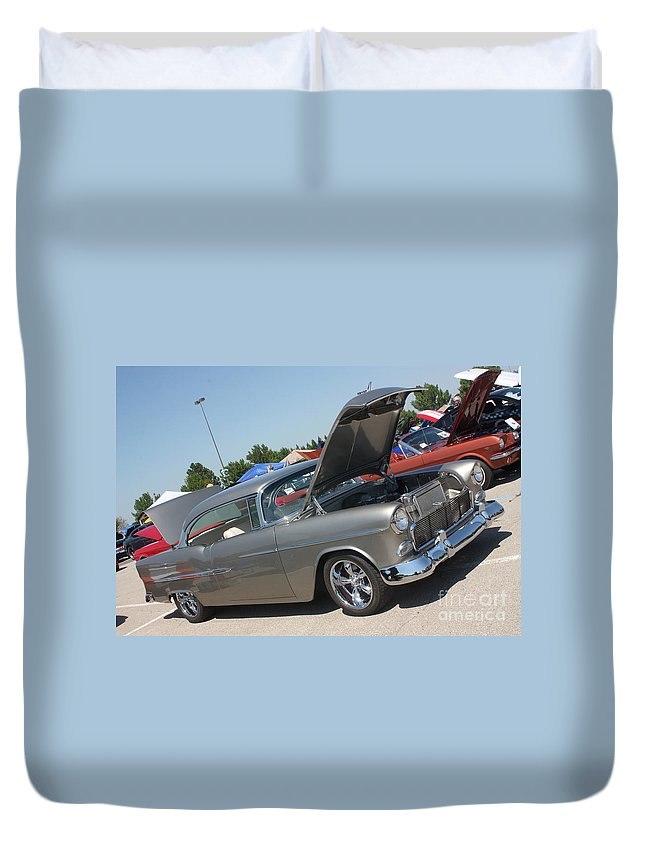 1955 Chevrolet Bel Air Duvet Cover featuring the photograph 55 Bel Air-8206 by Gary Gingrich Galleries