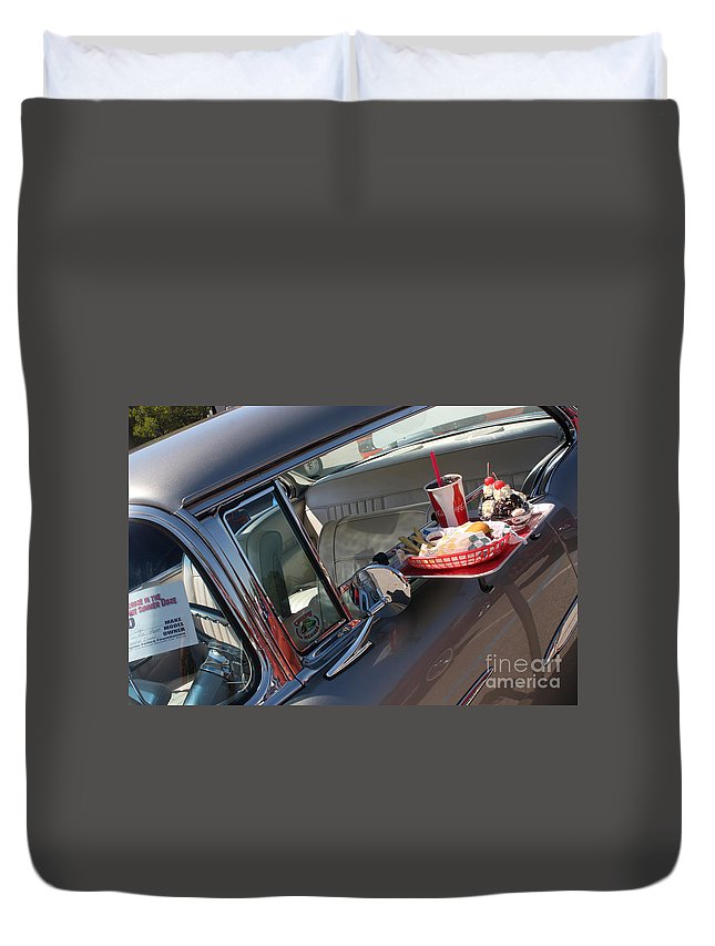 1955 Chevrolet Bel Air Duvet Cover featuring the photograph 55 Bel Air Door-8190 by Gary Gingrich Galleries