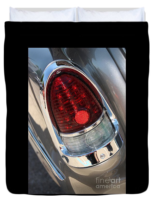 1955 Chevrolet Bel Air Duvet Cover featuring the photograph 55 Bel Air Tail Light-8184 by Gary Gingrich Galleries