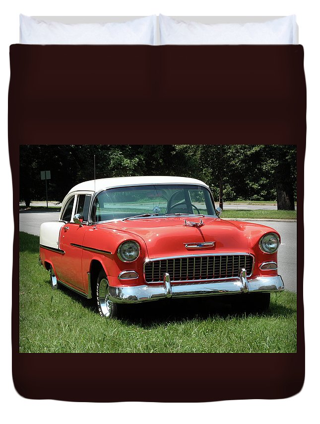 55 Duvet Cover featuring the photograph 55 Chevy by Frank Romeo