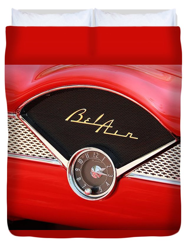Classic Cars Duvet Cover featuring the photograph '56 Bel Air by Aaron Berg