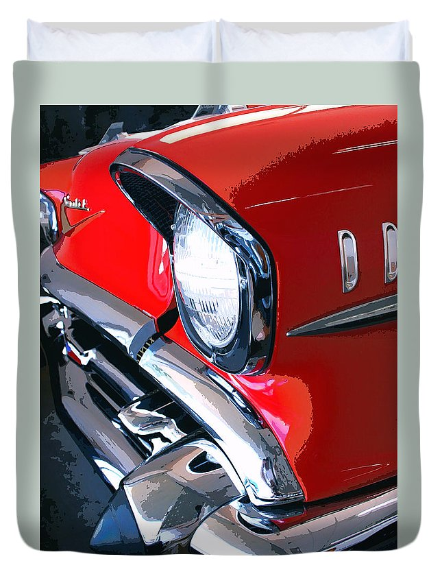 57 Chevy Front End Duvet Cover featuring the photograph 57 Chevy Front End Palm Springs by William Dey