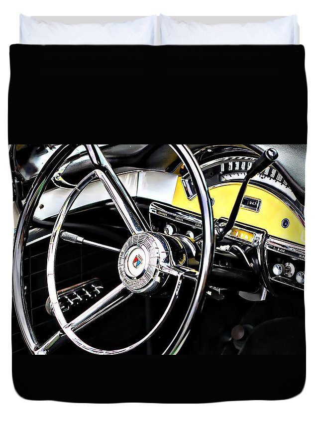 '57 Ford Fairlane 500 Duvet Cover featuring the photograph '57 Ford Fairlane 500 by Aaron Berg