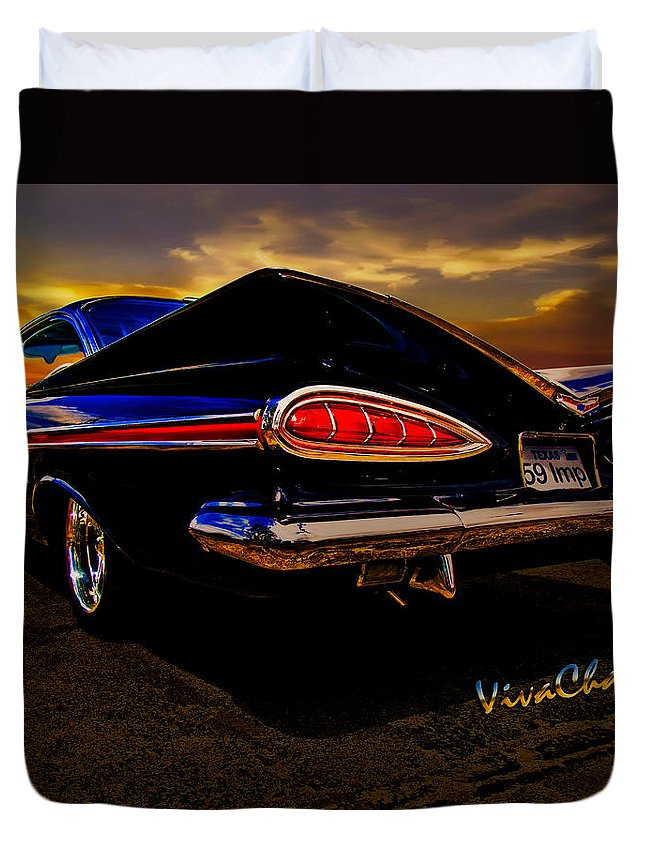 59 Duvet Cover featuring the photograph 59 Chevy Impala Hardtop by Chas Sinklier