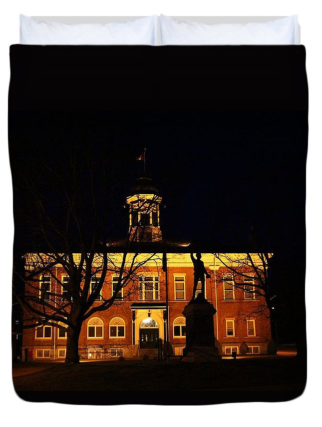 Building Duvet Cover featuring the photograph 5am At Port Hope Town Hall by Davandra Cribbie