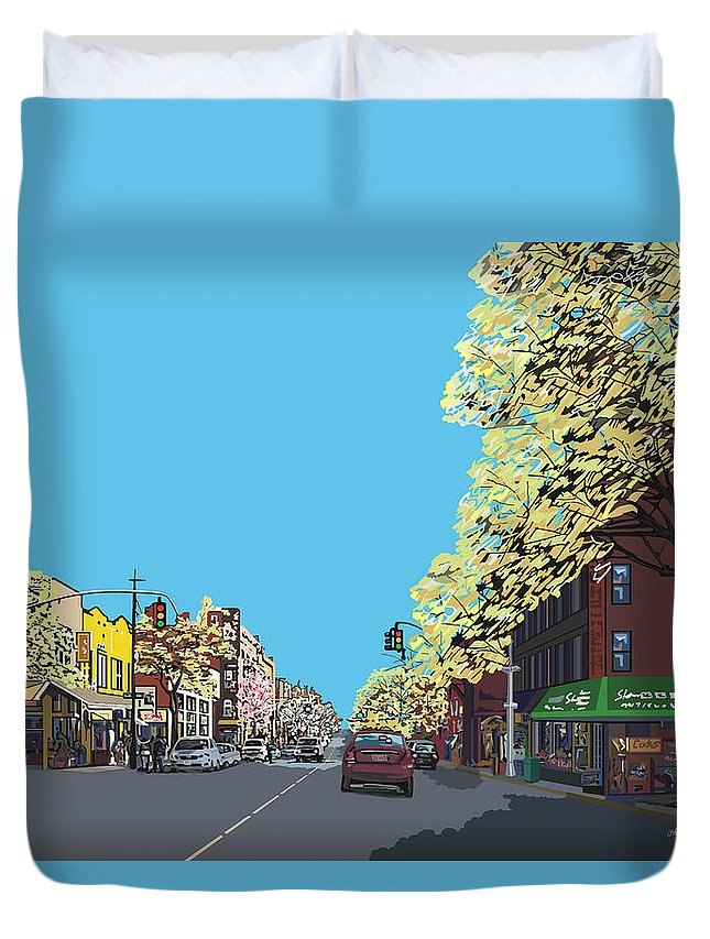 Landscape Duvet Cover featuring the digital art 5th Ave And Garfield Park Slope Brooklyn by James Mingo