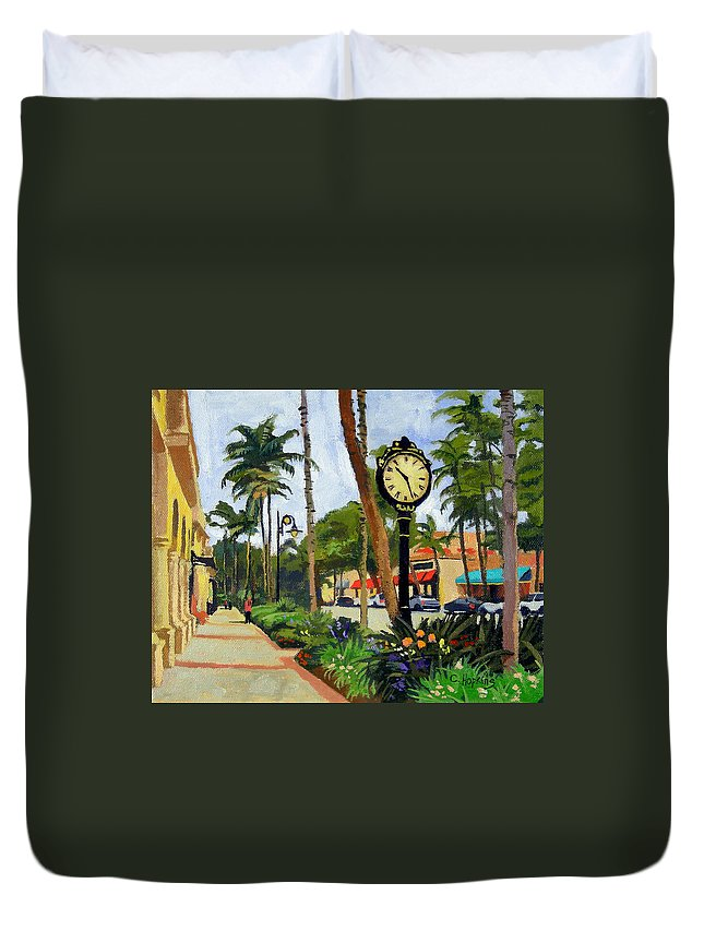 Christine Hopkins Duvet Cover featuring the painting 5th Avenue Naples Florida by Christine Hopkins