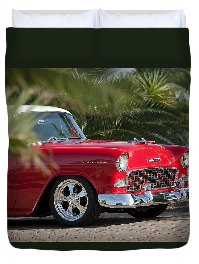 1955 Chevrolet 210 Duvet Cover featuring the photograph 1955 Chevrolet 210 by Jill Reger
