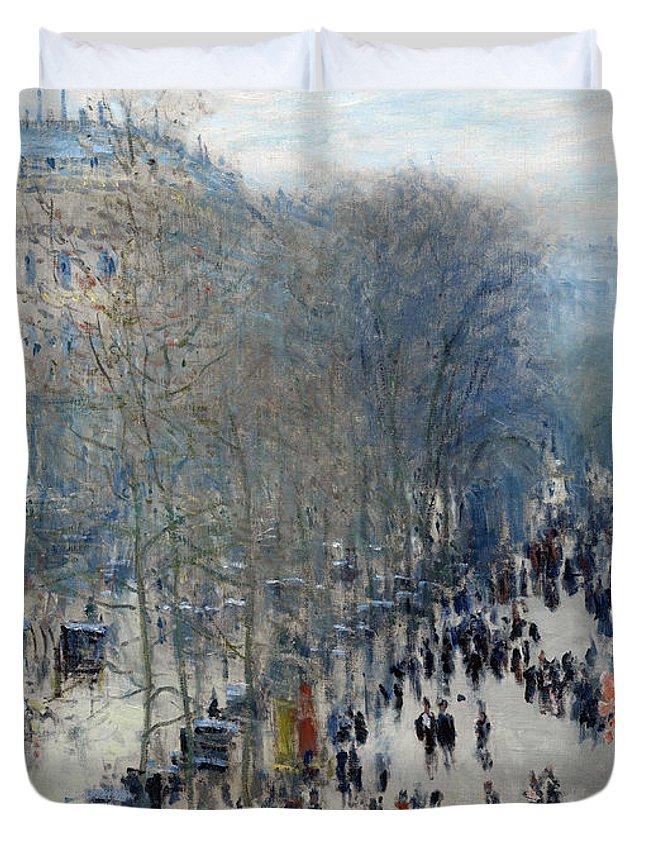 Claude Duvet Cover featuring the painting Boulevard Des Capucines by Claude Monet