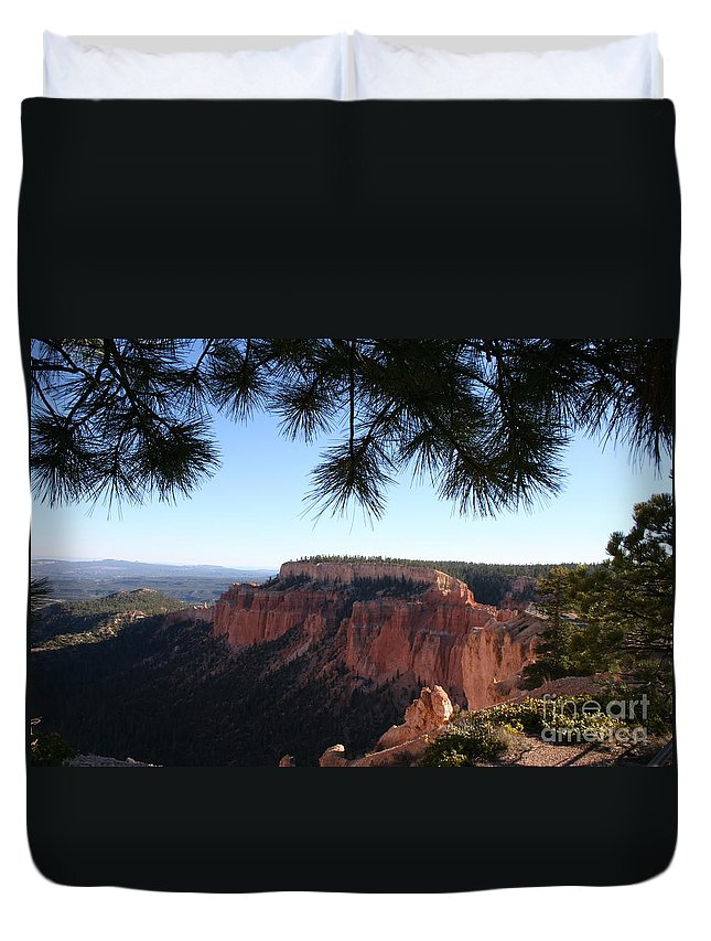Canyon Duvet Cover featuring the photograph Bryce Canyon Overlook by Christiane Schulze Art And Photography