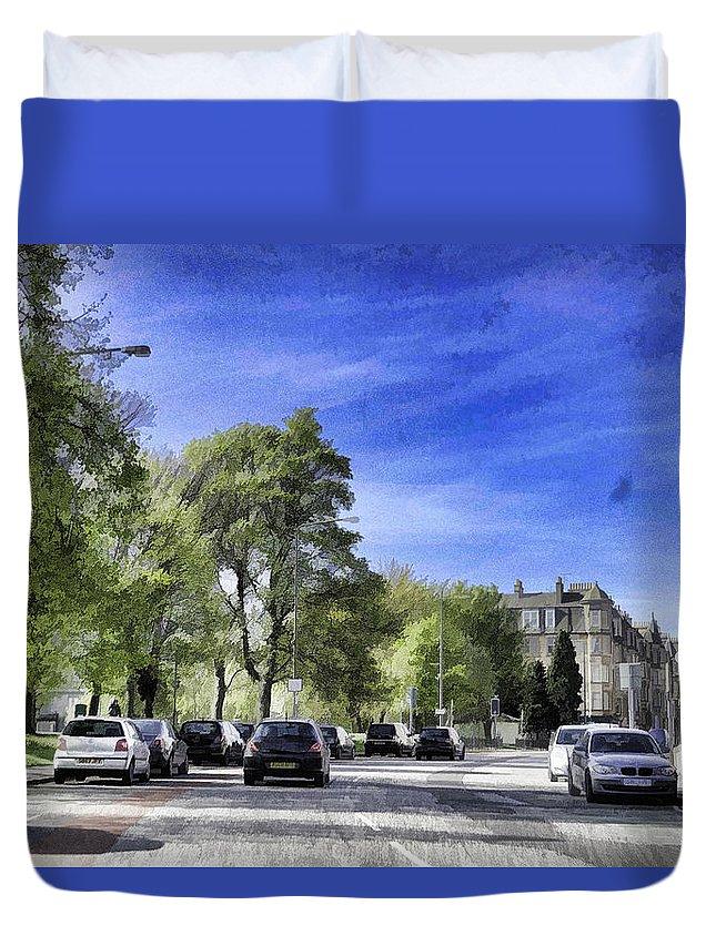 Action Duvet Cover featuring the digital art Cars On A Street In Edinburgh by Ashish Agarwal