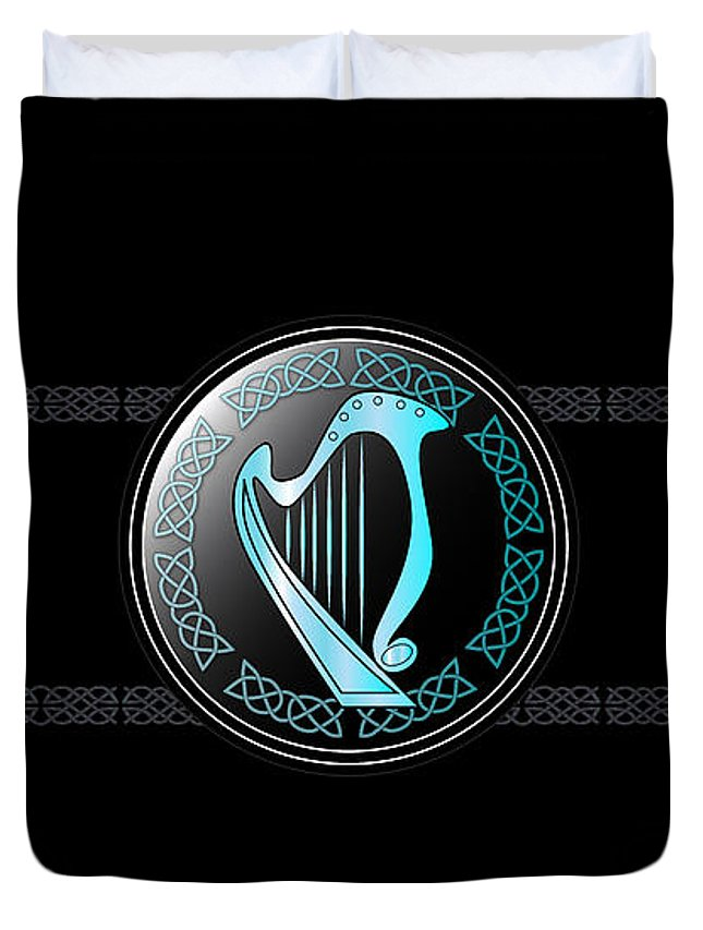Celtic Duvet Cover featuring the digital art Celtic Harp by Ireland Calling