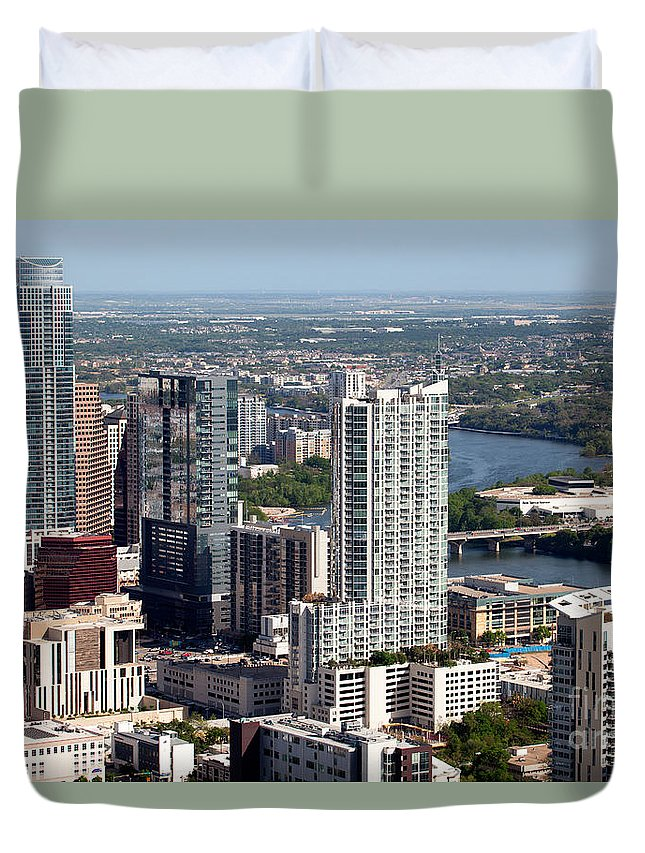 Austonian Duvet Cover featuring the photograph Downtown Austin Texas by Bill Cobb