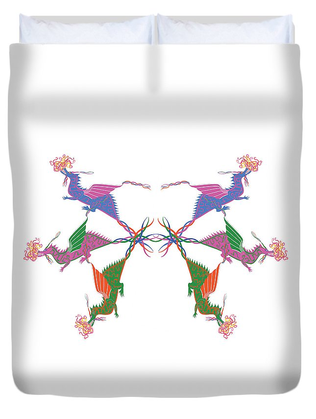 6 Dragons Duvet Cover featuring the drawing 6 Dragons Breathing Fire by Blythe Ayne
