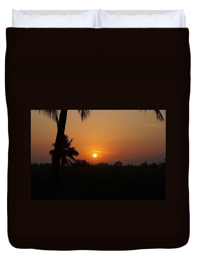 Hampi Duvet Cover featuring the digital art Hampi Sunset by Carol Ailles