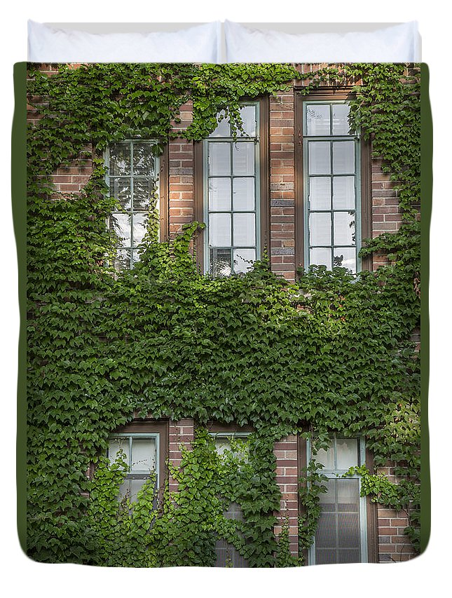 Michigan State University Duvet Cover featuring the photograph 6 Ivy Windows by John McGraw