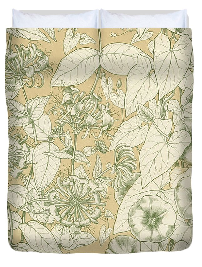 Ornament; Ornamentation; Design; Pattern; Historical; Plates; Leaves; Nature; Botany; Botanical; Leaf; Natural Duvet Cover featuring the painting Leaves From Nature by English School