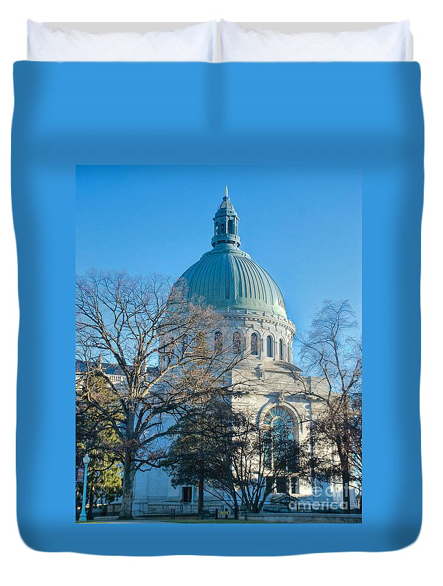 Academy Duvet Cover featuring the photograph Naval Academy Chapel by Mark Dodd