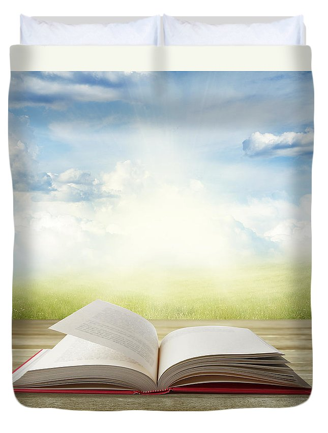 Book Duvet Cover featuring the photograph Open Book by Les Cunliffe