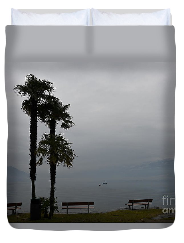 Tree Duvet Cover featuring the photograph Palm Trees by Mats Silvan