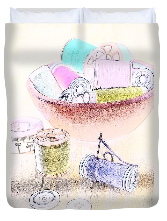 Sewing Duvet Cover featuring the photograph Sewing Supplies by Paulo Goncalves