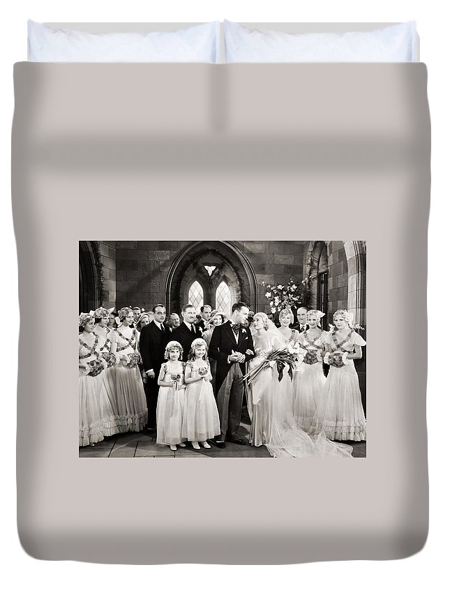 1920s Duvet Cover featuring the photograph Silent Film Still: Wedding by Granger