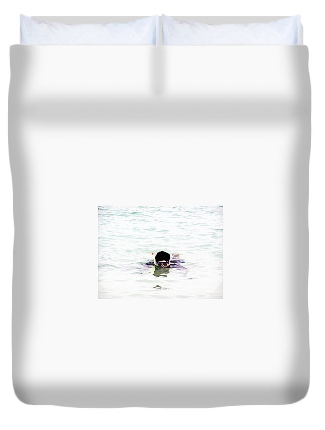 Action Duvet Cover featuring the digital art Snorkelling In The Lagoon Inside The Coral Reef by Ashish Agarwal