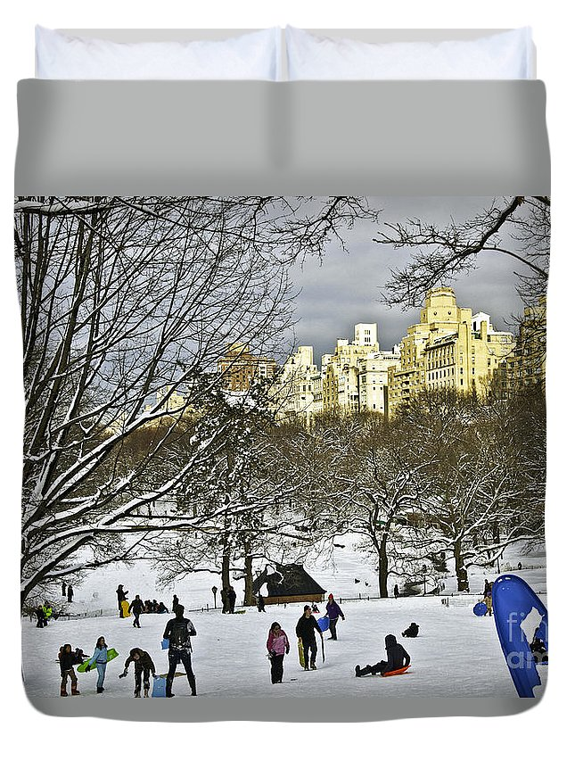 Snow Duvet Cover featuring the photograph Snowboarding In Central Park 2011 by Madeline Ellis
