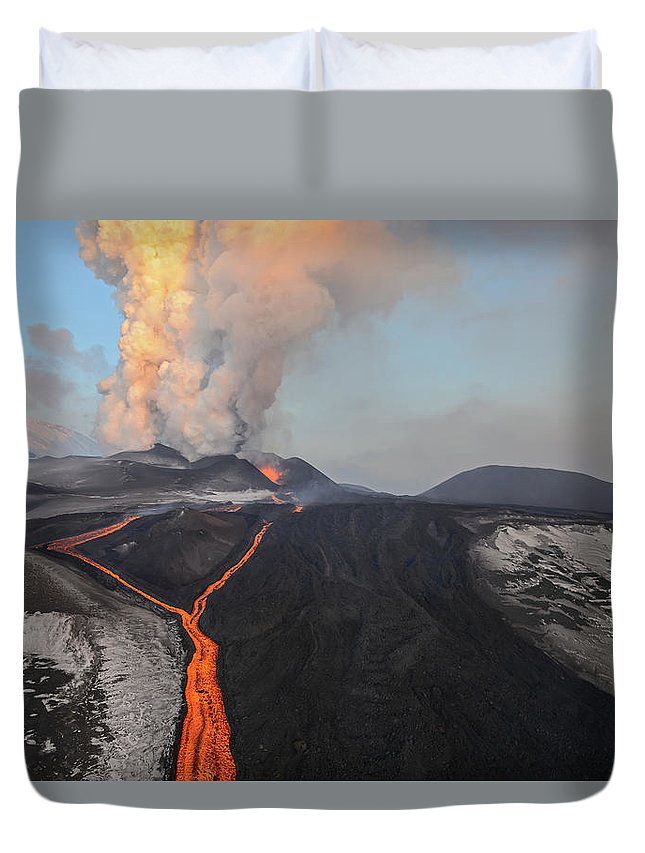Feb0514 Duvet Cover featuring the photograph Tolbachik Volcano Erupting Kamchatka by Sergey Gorshkov