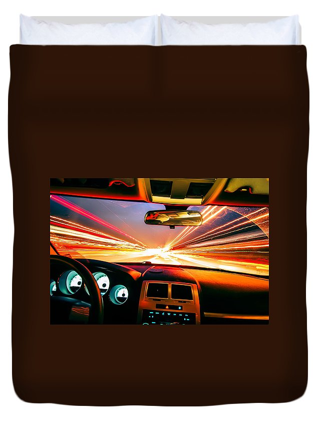 Abstract Duvet Cover featuring the photograph Traveling At Speed Of Light by Alex Grichenko