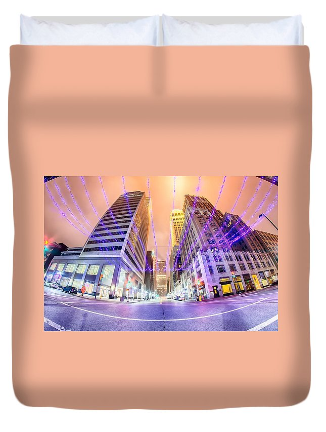 Tulsa Duvet Cover featuring the photograph Tulsa City Skyline Around Downtown Streets by Alex Grichenko