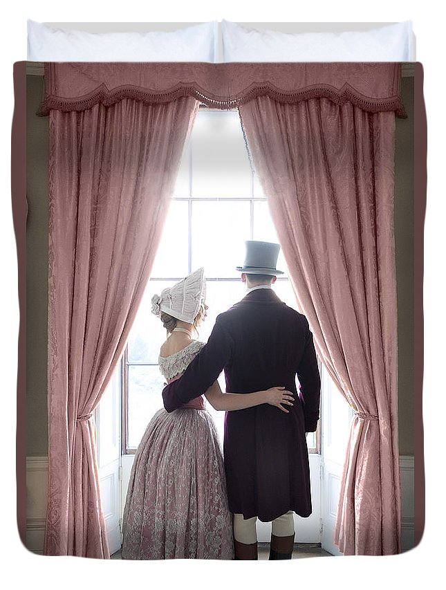 Victorian Duvet Cover featuring the photograph Victorian Couple by Lee Avison