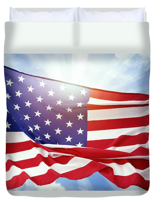 American Duvet Cover featuring the photograph American Flag 55 by Les Cunliffe