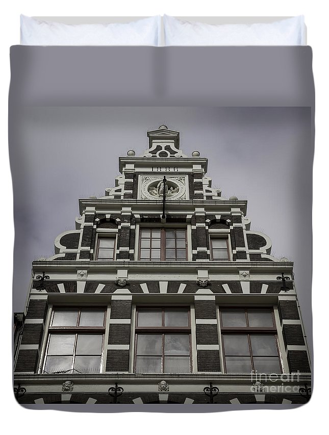 2014 Duvet Cover featuring the photograph 62 Damrak Amsterdam Squared by Teresa Mucha