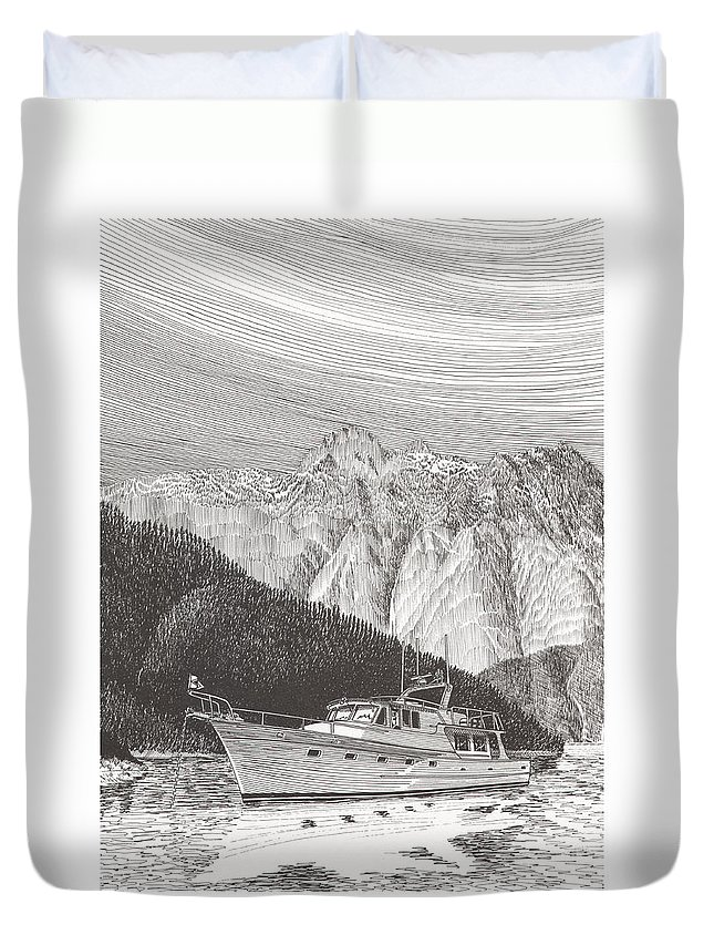 A Pen & Ink Yacht Portrait Of A 65 Foot Yacht Anchored In Desolation Sound Duvet Cover featuring the drawing Desolation Sound Quiet Anchorage   by Jack Pumphrey