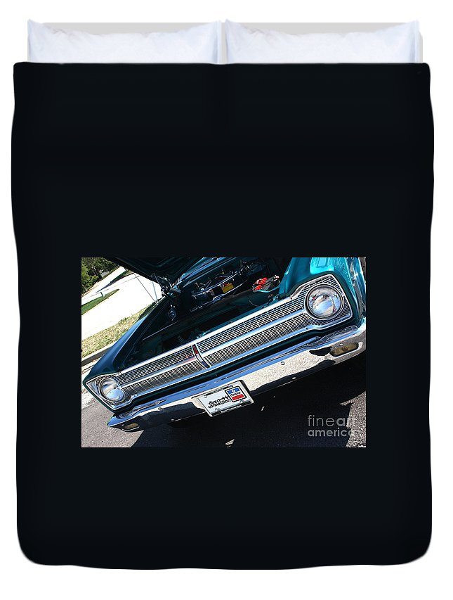 1965 Duvet Cover featuring the photograph 65 Plymouth Satellite Grill-8481 by Gary Gingrich Galleries