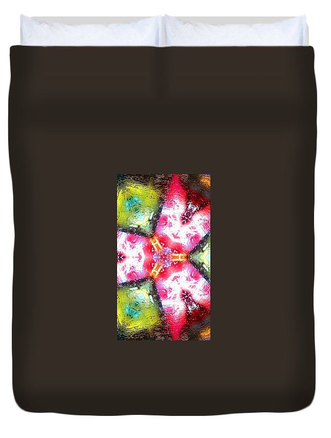 Abstract Duvet Cover featuring the painting 7 by Alex Art and Photo