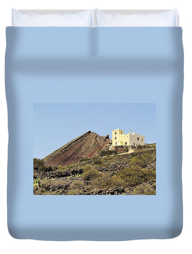 Volcanic Duvet Cover featuring the photograph Corona Volcano On Lanzarote by Karol Kozlowski