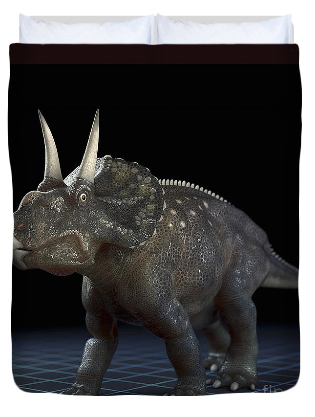 Extinction Duvet Cover featuring the photograph Dinosaur Diceratops by Science Picture Co