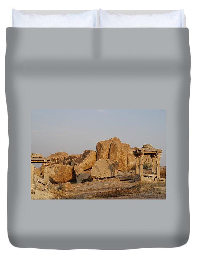 Hampi Duvet Cover featuring the digital art Hampi Landscape by Carol Ailles